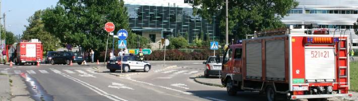 Zastępy PSP na miejscu zdarzenia